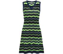 Striped Crochet-knit Mini Dress Lime Green