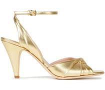 Sandalen aus Metallic-leder mit Twist-detail An Der Vorderseite
