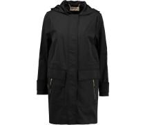 Cotton-blend Shell Hooded Coat Schwarz