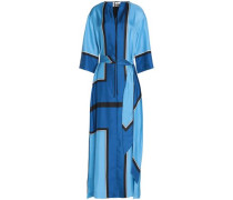 Printed silk-twill gown