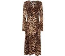 Wrap-effect Leopard-print Crepe Midi Dress