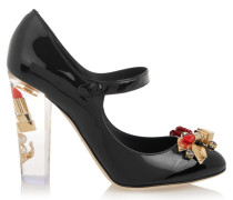 Embellished Patent-leather Mary Jane Pumps Schwarz
