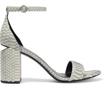 Abby Cutout Snake-effect Leather Sandals