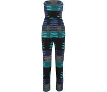 Printed Crepe Jumpsuit Blau