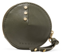 Studded Leather Wallet Armeegrün
