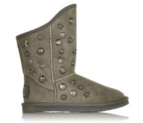 Angel Studded Shearling Ankle Boots Grau