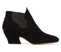 Alma Textured-suede Ankle Boots Schwarz