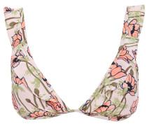 Ruffled Floral-print Triangle Bikini Top