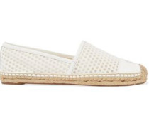 Grenada leather-paneled mesh espadrilles