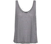 Woman Striped Slub Linen-blend Jersey Tank Black