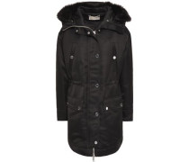 Faux Fur-trimmed Satin-crepe Hooded Jacket Black