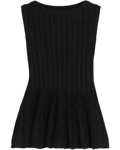 Open-knit Peplum Top Black