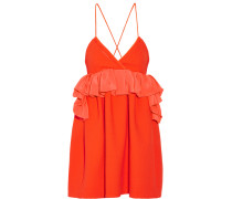 Ruffled Silk-trimmed Wool Mini Dress Knallorange