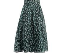 Pleated fil coupé organza midi skirt