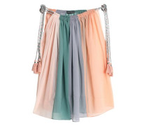 Tasseled multicolored gauze maxi skirt