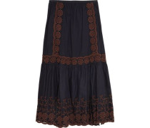 Broderie anglaise printed cotton maxi skirt