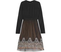 Grady Jersey And Embroidered Silk-chiffon Dress Schwarz