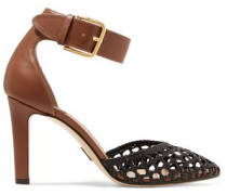 Ragnar buckled woven leather pumps