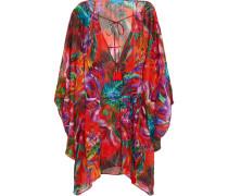 Draped Floral-print Silk-chiffon Coverup Mehrfarbig