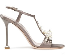 Embellished Satin And Leather Sandals
