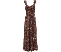 Evianna Pleated Fil Coupé Printed Silk And Lurex-blend Gown