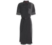Belted Polka-dot Silk Crepe De Chine Dress