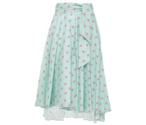 Asymmetric Belted Printed Linen Skirt