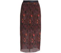 Printed plissé-georgette midi skirt