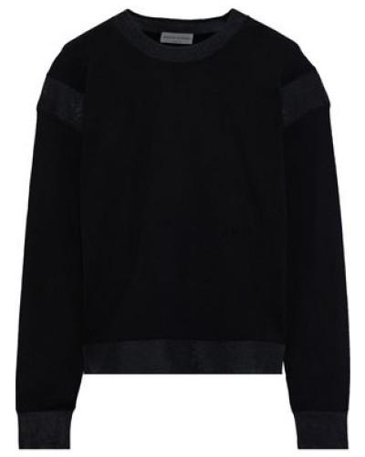 Mesh-trimmed Wool Sweater Black