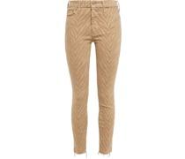 Halbhohe Cropped Jeans mit Schmalem Bein und Tigerprint