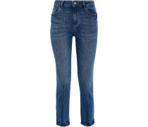 Woman Mara Cropped Frayed Mid-rise Skinny Jeans Mid Denim