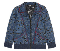 Jacquard-trimmed Denim-appliquéd Lace Jacket Schwarz