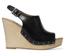 Camilla Leather Wedge Sandals Schwarz