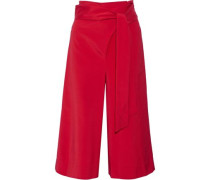 Cropped stretch-faille wide-leg pants