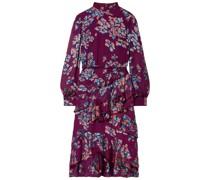 Isa Ruffled Floral-print Devoré Midi Dress