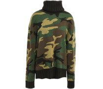 Woman Ponce Printed Wool And Cashmere-blend Turtleneck Sweater Army Green