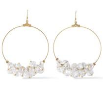 -tone Bead Hoop Earrings