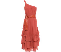 One-shoulder Belted Tiered Fil Coupé Woven Midi Dress