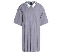 Pleated printed woven cotton mini dress
