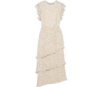 Tiered Floral-print Chiffon Midi Dress