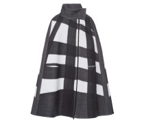 Oversized Checked Stretch Wool-blend Cape Schiefer