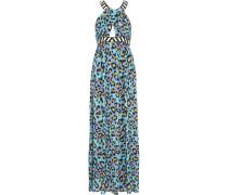 Embellished Leopard-print Silk Crepe De Chine Dress Blau