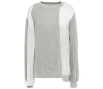 Sweatshirt aus Baumwollfrottee und Glänzendem Crêpe