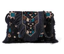Taselled-beaded Textured Cotton-blend Shoulder Bag Schwarz
