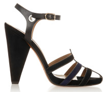 Embellished Leather And Suede Sandals Schwarz