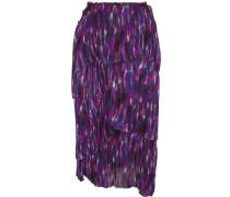 Tiered Printed Silk Skirt Lila