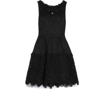 Belted Lace Silk-blend Mini Dress Schwarz