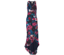 Asymmetric Floral-print Silk Maxi Dress Blau
