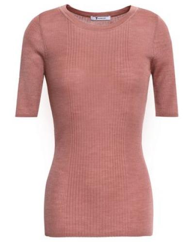 Ribbed-knit Merino Wool-blend Top Antique Rose