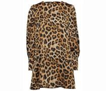 Gerafftes Minikleid aus Satin mit Leopardenprint
